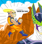 MS Paint Krillin versus Cell by illahstrait
