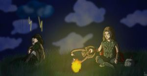 Loki and Thor campfire by Tshuuls