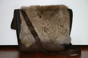 Leather and  fur shoulderbag by Technojunk12