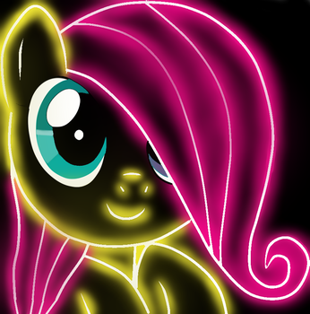 Fluttershy NEON by Sangre by Sangrederainbow