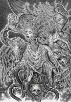 Amorphous angel rising from the baptismal font by Scytheprayer