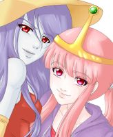 Marceline and Princess Bubblegum by TayTayCupcakeCutiee
