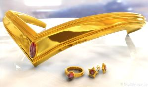 Sailor Moon Tiara - Diadem Gold 3D by digitalAuge