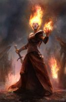 Fire Sorceress by conorburkeart