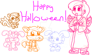 Characters and Halloween by HeartinaThePony