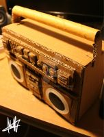 Cardboard Boombox by MaCherz
