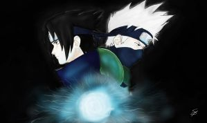 Sasuke and Kakashi by sandralinnea