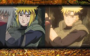 Minato and Naruto Gutsy Ninja Wallpaper by weissdrum