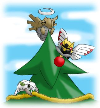 Pokemon Christmas scene no. 7 by mew-at-heart