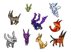 Eeveelutions by PhantomCrazed