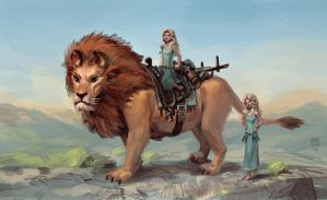 Lion Riders by tim-mcburnie
