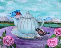 Outdoor tea, teapot, birds, sparrow and robin by barbarpaint