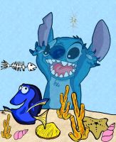 Dory and Stitch by andy-pants