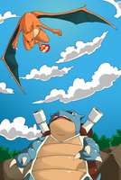 Tortank vs Dracaufeu by Valoubalou