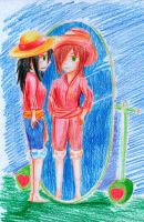 Tomoko cosplay Luffy  muy muy pero muy feo by secretosycolores
