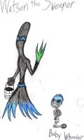 Epic Mickey: Watson the Sweeper and baby Wheeler by werecatkid17