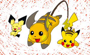 2012 Pokedex Project: 010 - Pichu Family by bagleopard