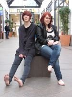 Marie and Svenja barefoot in Luebeck by Burkhard55