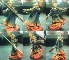 Eldar Farseer on flaming base by disposable-h3ro