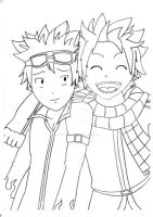 Natsu Dragneel and Natsu Dragion by YayPainterGirl16