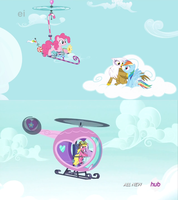 Helicopters, in Ponyville by Flutterflyraptor