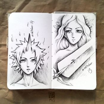 Inktober. Days 13 and 14 by MarGosta