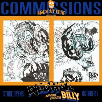 Werewolf Commissions 1 + 2 for Red Hill Billy by GroovyDead