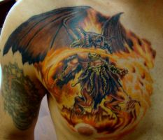Fiery Demon Tattoo by seanspoison