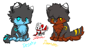 Desoto, Zan, and Damien chibis by BoboSweet