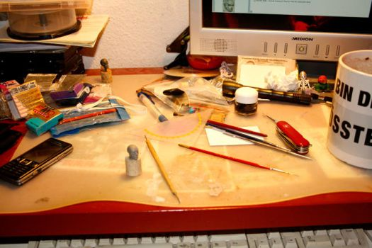 desk, putty, tools and coffee by murderinhiseyes