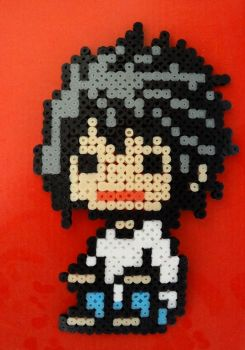 Perler Beads of L from Death Note by geekyemoKun