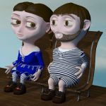 Beth and Bob on textured bench by Kreat3D