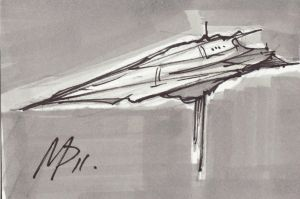 sketchcard 2 in a series of space ships by Bluedonutstudios