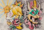 Bowser and Peach Tattoo Flash by drastic77