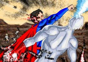 DC Civil War...Captain Atom Vs Superman by adamantis
