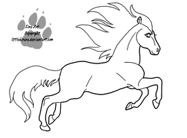 Leaping Mare Line Art by LittleKirara