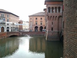 Ferrara (Italy) Castle and moat by Freak-Angel56