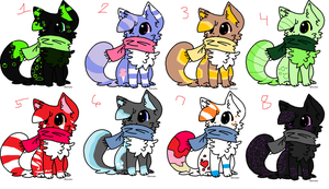 .:Even More Scarf Kitties:. [OPEN] by mossyyadopts
