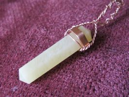 Lemon Quartz and Copper Wire-Wrapped Pendant 7a by Windthin