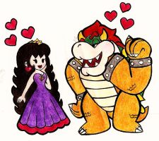 Paper Bowser and Jasmine by JasmineLovesDrawing