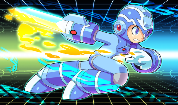 Commission: Megaman Sword of Fire and Ice by ultimatemaverickx