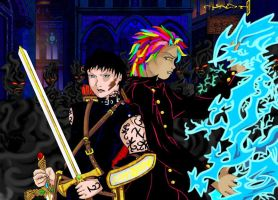 Alec and Magnus fight against Iblis by Enoa79