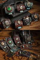 Steampunk Wrist cuffs with mechanical Pocketwatch by Aetherwerk