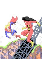 Supergirl Vs Spiderwoman by CjHogdung