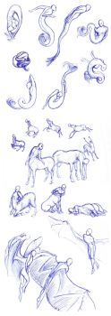 Sirens, centaurs, winged - poses by Batri