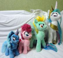 Pony plushies size comparison by Rens-twin
