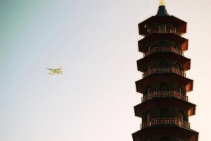 Pagoda and Plane by ConveyedEcho