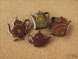 Tea brooches by Lyth