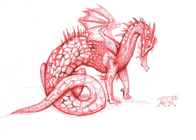 Dragon 23 - Red Pen Dragon by oblivion-of-sanity