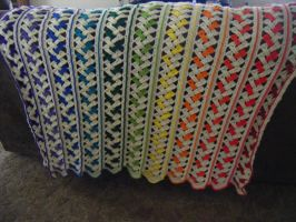 Rainbow Afghan View 4 by Arexandria